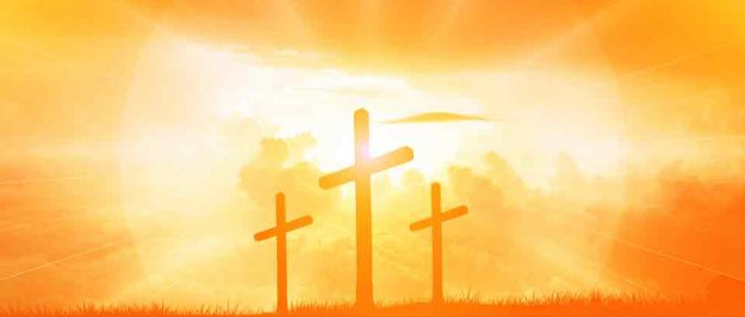 Three crosses with Golden Sky background