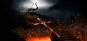 Cross acting as a Bridge over Hell. With a picture of Heaven Gates