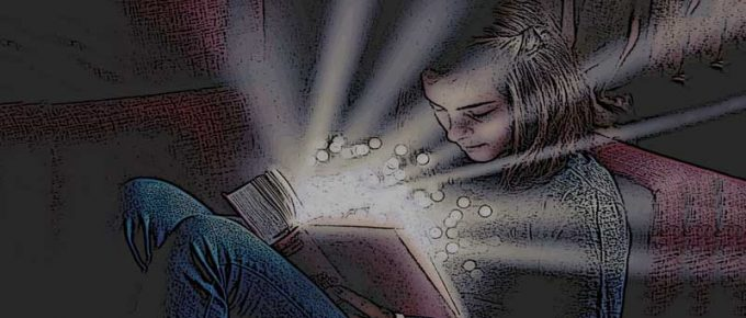 A young girl reading her bible with light coming from it. A prayer psalm for joy and mediation.