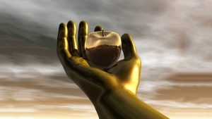 A Golden Hand reaching up in the Sky holding an apple,